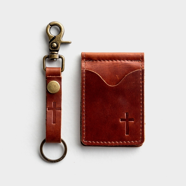 Leather Wallet & Keychain - Gift Set