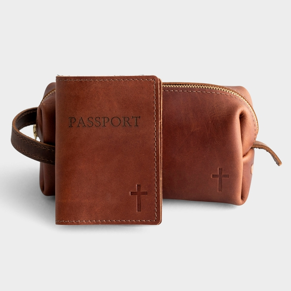 Leather Carry-All Pouch & Passport Cover - Traveler's Gift Set