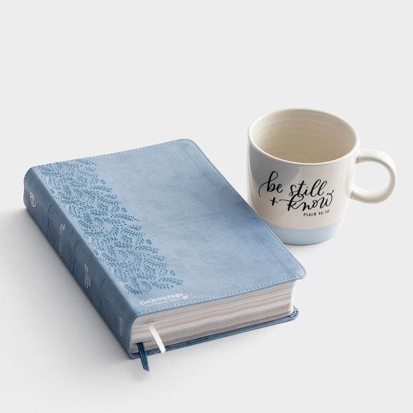 Blue (in)courage Devotional Bible & Be Still Mug - Gift Set