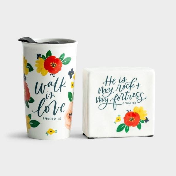 Studio 71 - Walk in Love Ceramic Tumbler & My Rock + My Fortress Ceramic Plaque Gift Set