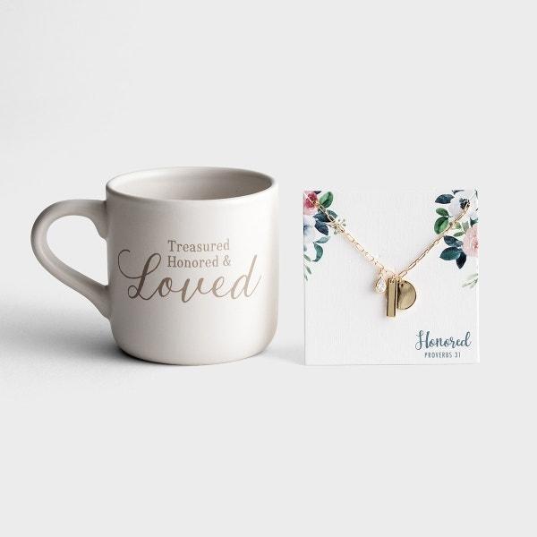 Treasured and Honored - Ceramic Mug and Necklace Gift Set