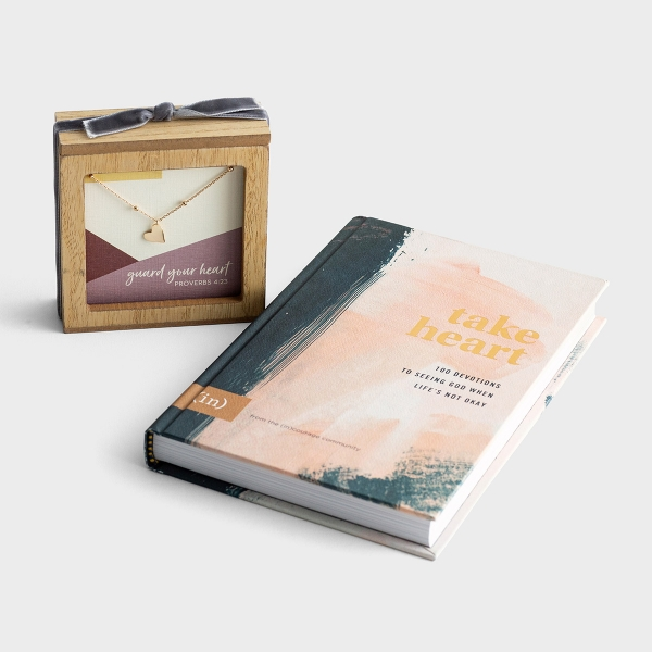 (in)courage Take Heart Necklace and Devotional - Gift Set