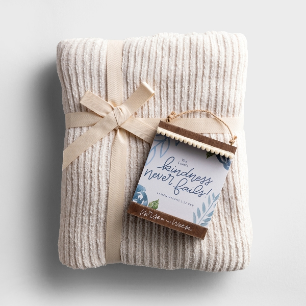 Verse of the Week and Chenille Throw Blanket - Gift Set
