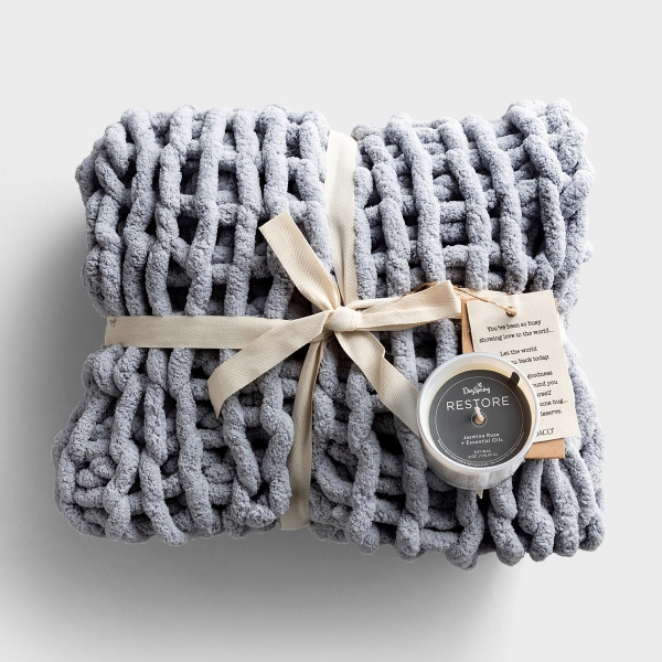 Restore - Chunky Knit Throw and Candle - Gift Set