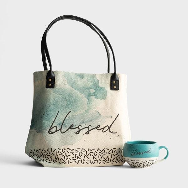 Blessed - Canvas Tote Bag & Stoneware Mug - Gift Set