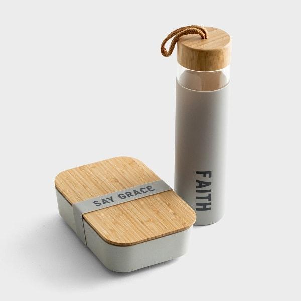 Faith - Glass Water Bottle & Bamboo Lunch Box Set