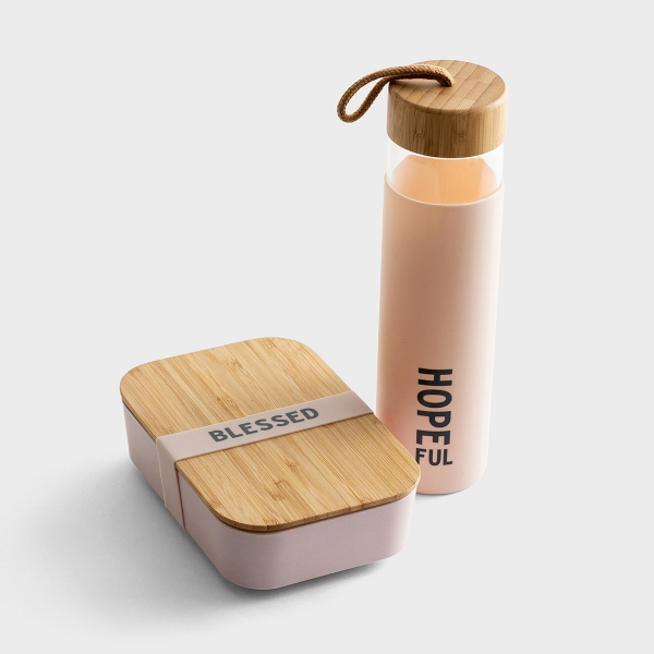 Hopeful & Blessed - Glass Water Bottle & Bamboo Lunch Box Set