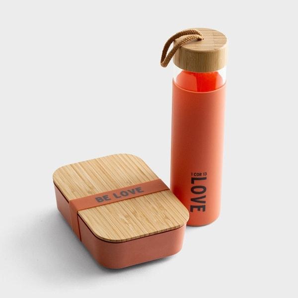 Love - Glass Water Bottle & Bamboo Lunch Box Set