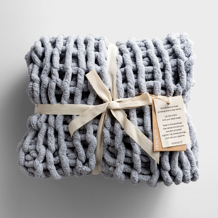 Chunky Knit Throw Blanket - Gray