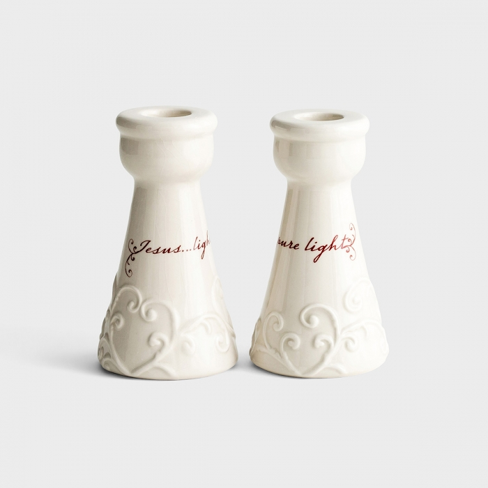 Love Came Down - Pure Light - Embossed Candlesticks, Set of 2