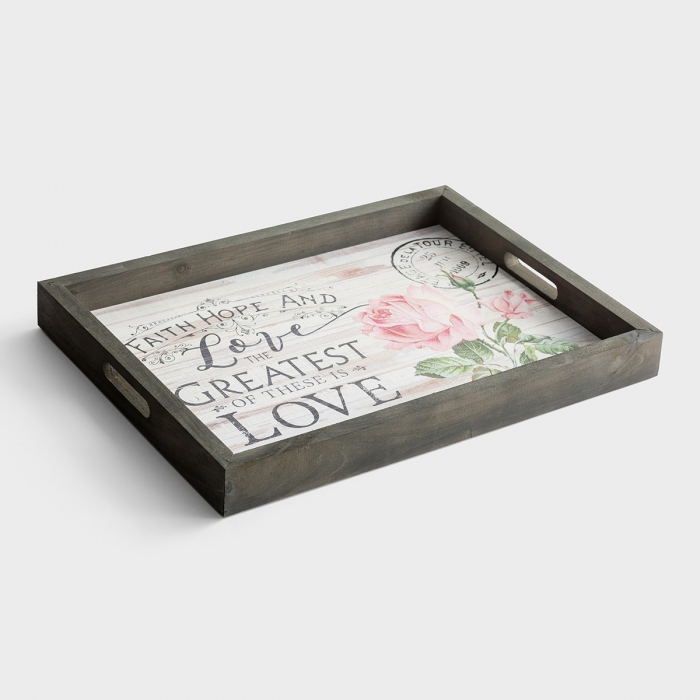 Faith Hope and Love - Wooden Tray