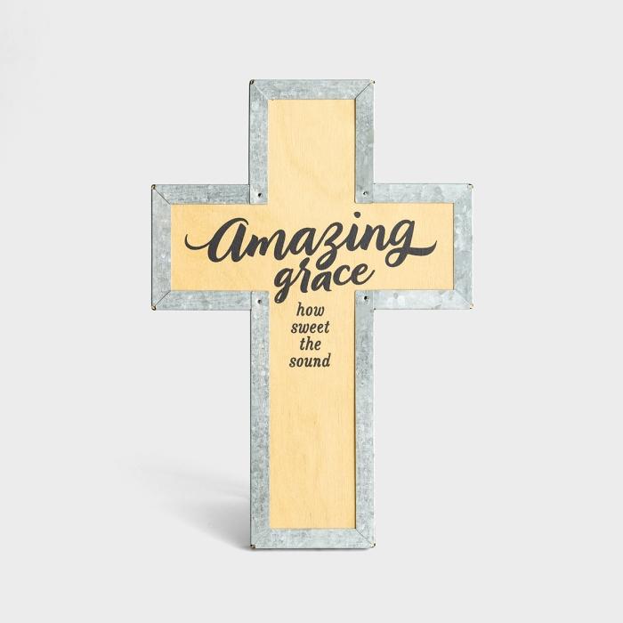 Amazing Grace - Wood & Metal Cross