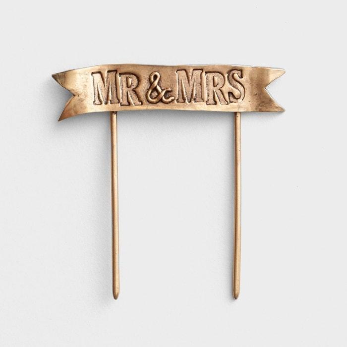 Lisa Leonard - Mr & Mrs - Gold Banner Cake Topper