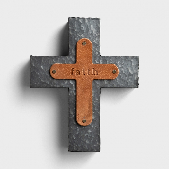 Faith - Leather & Metal Wall Cross