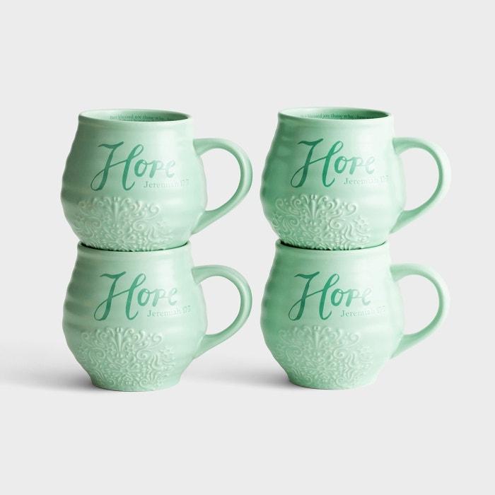 Hope - Stoneware Mugs, Set of 4
