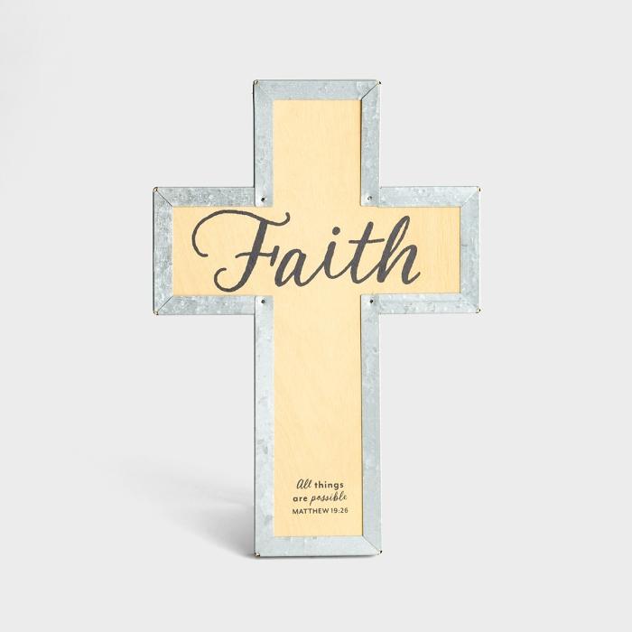 Faith - Wood & Metal Cross