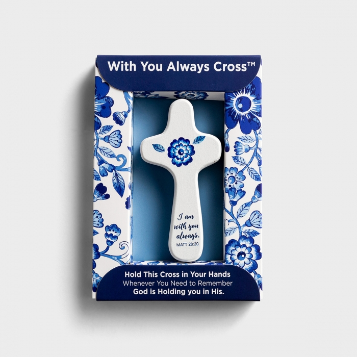 I Am with You Always - Blue & White Handheld Wooden Cross
