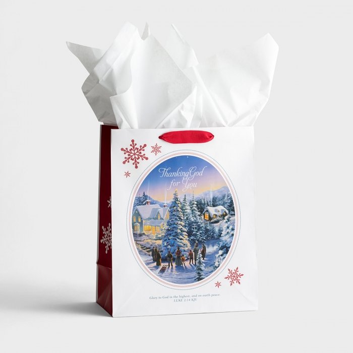 Thomas Kinkade - Thanking God For You - Large Christmas Gift Bag