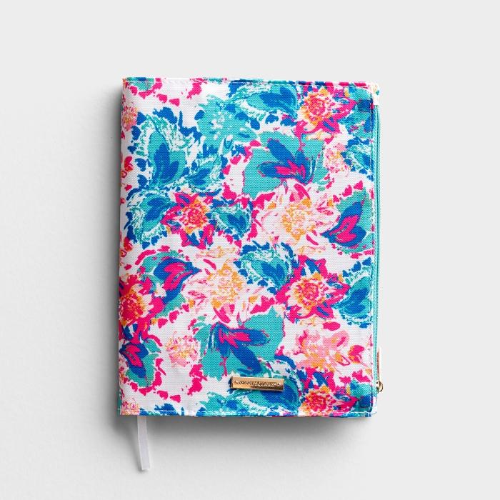 """Canvas Zip Pocket Journal (7.5"""" x 9"""") - Peony Sorbet"""