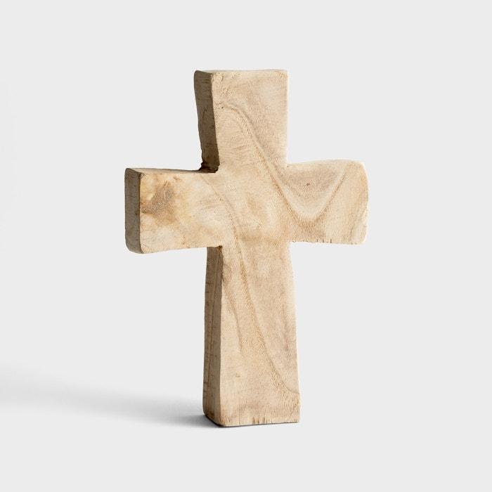 "Paulownia Wood Standing Cross - 10"", Natural"