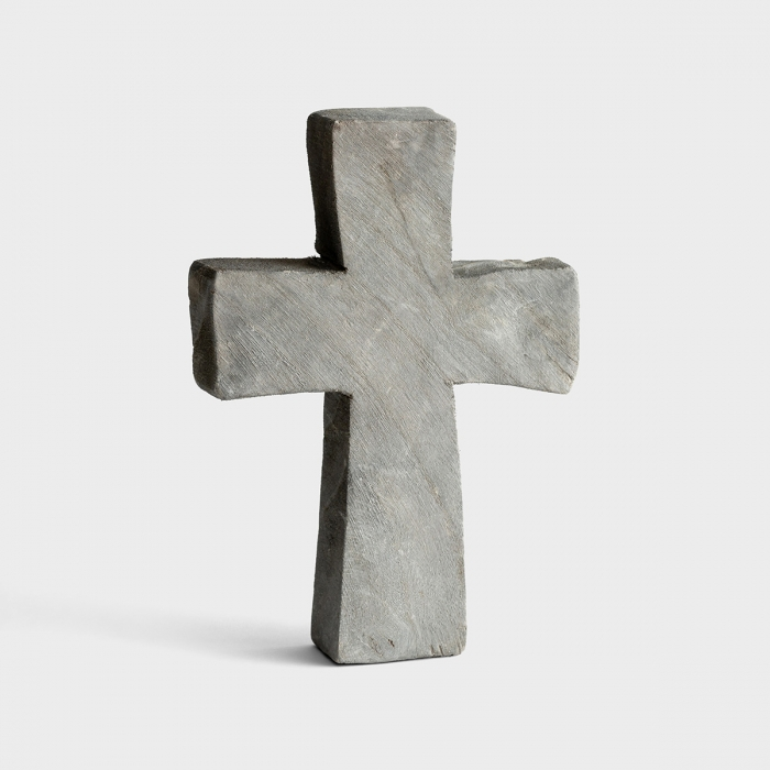 "Paulownia Wood Standing Cross - 10"", Grey"