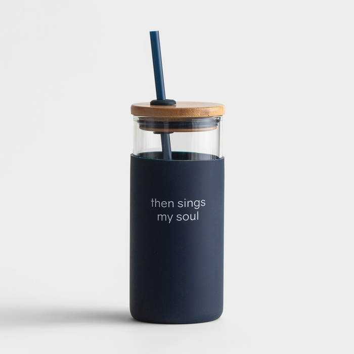 Then Sings My Soul - 18oz Glass Tumbler with Bamboo Lid and Straw