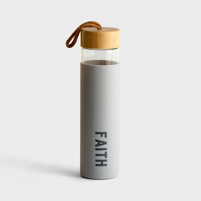 Faith - Glass Water Bottle with Bamboo Lid