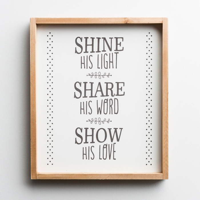 Shine His Light - Wood Framed Wall Art