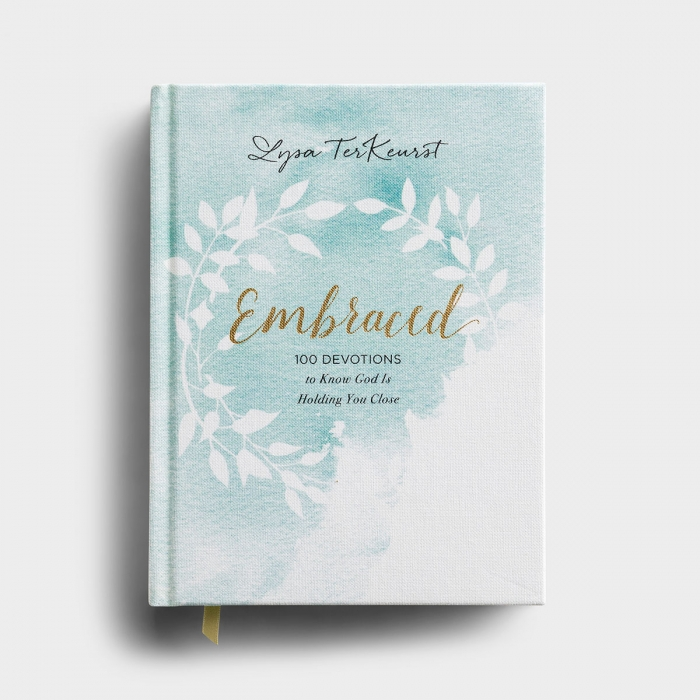 In Embraced, Lysa TerKeurst shares her own struggles and doubts while pointing to the Ultimate Embrace: Jesus opening His arms wide on Calvary so that He could pull us close for eternity.