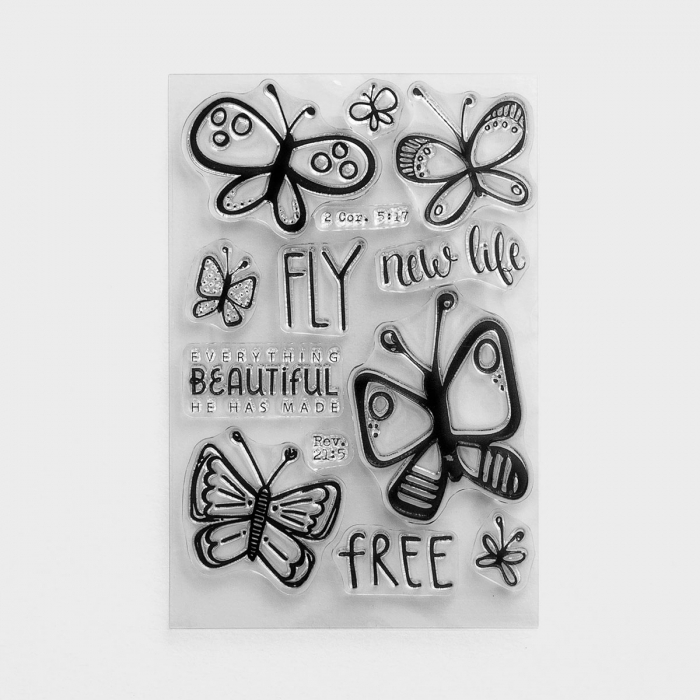 Illustrated Faith - Fly Free - Clear Stamps, Set of 13