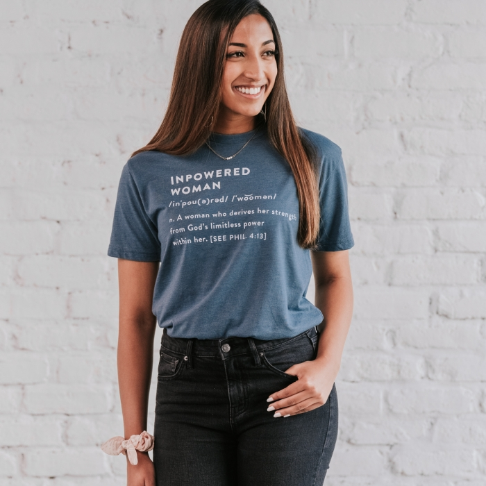 Candace Cameron Bure - Inpowered Woman - Heather Navy - Relaxed Fit T-Shirt