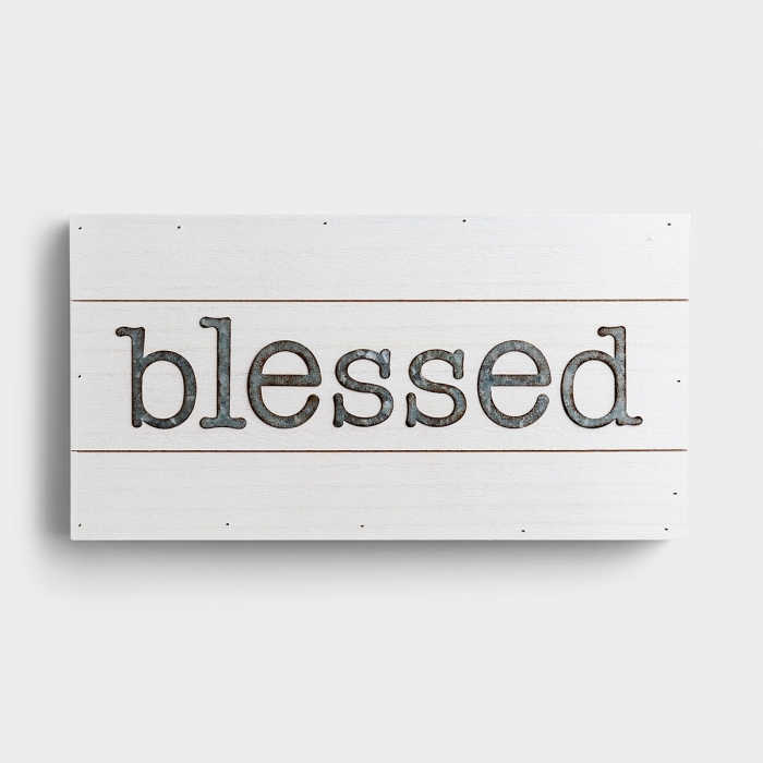 Our 'Blessed' inspirational wood and metal wall art adds a warm and simple touch to home décor that evokes thoughts of simpler times.