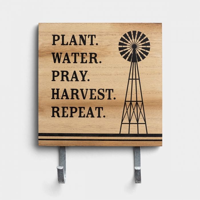 Plant. Water. Pray. - Wall Art with Hooks