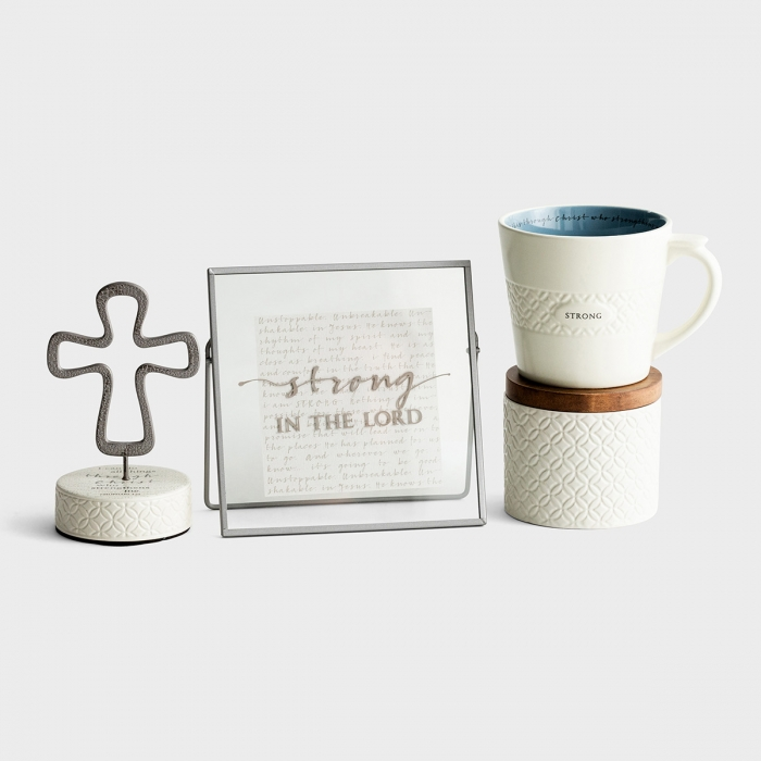 Strong in the Lord - Mug, Ceramic Box, Cross, and Plaque Gift Set