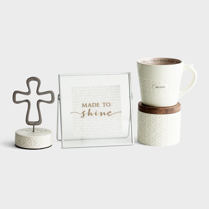 Made to Shine - Mug, Ceramic Box, Cross, and Plaque Gift Set
