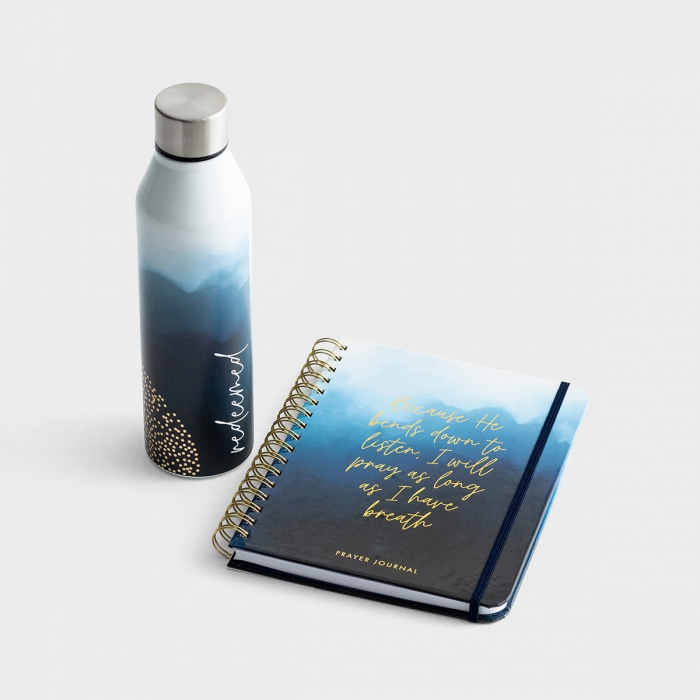 He Bends Down To Listen - Prayer Journal & Stainless Steel Water Bottle - Gift Set