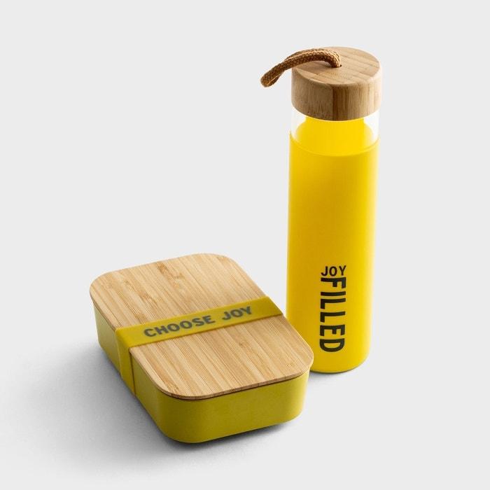 Joy - Glass Water Bottle Bamboo Lunch Box Set