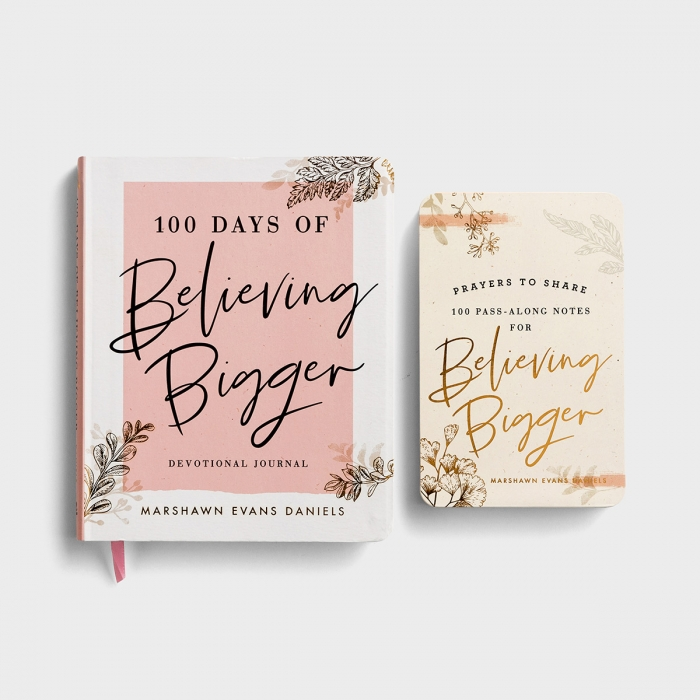 Marshawn Evans Daniels - 100 Days of Believing Bigger - Devotional Journal and Prayers to Share Set