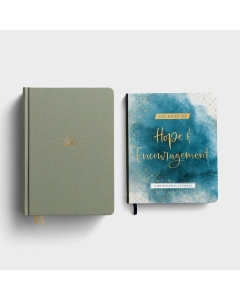 DaySpring Hope & Encouragement Seafoam Cloth Over Board Bible & 100 Days of Hope & Encouragement - Gift Set