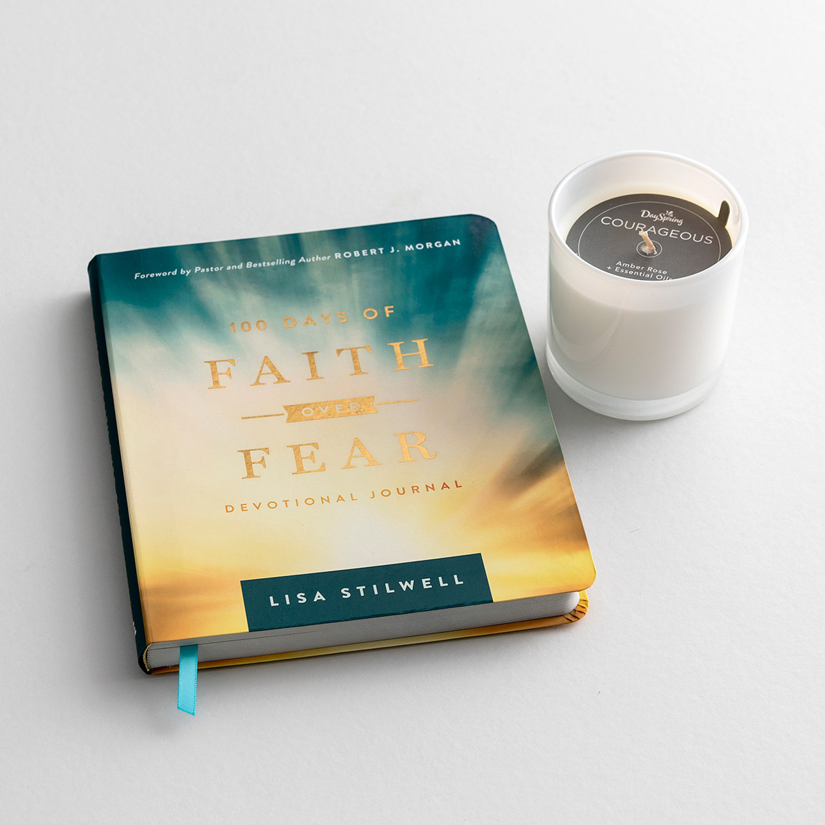 100 Days of Faith Over Fear & Courageous Candle - Quiet Time Gift Set