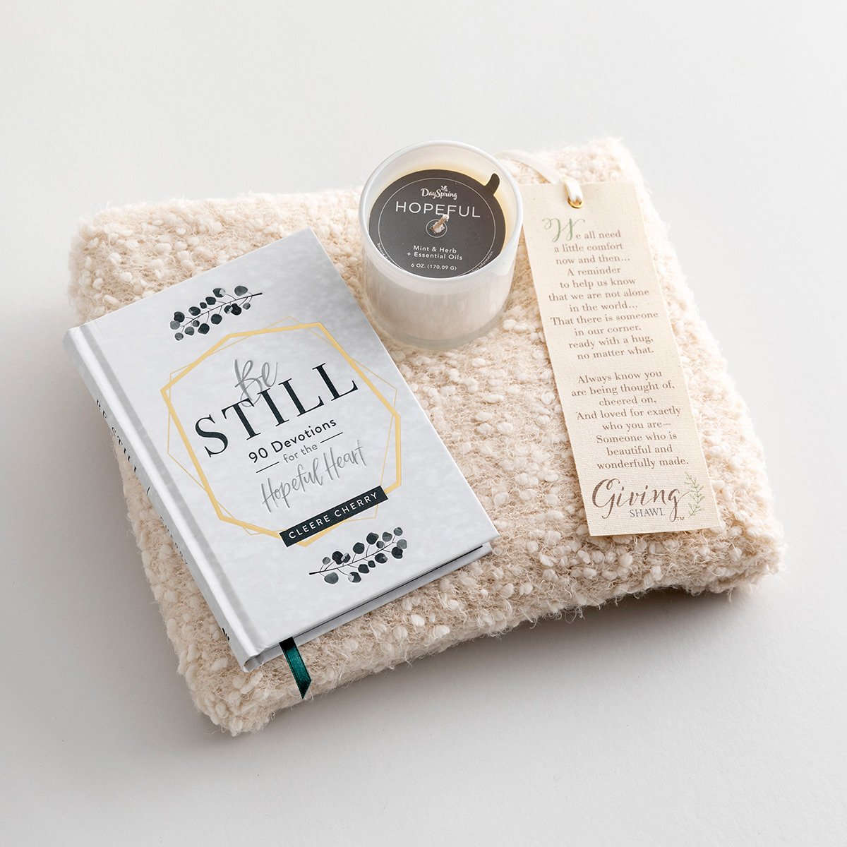 Giving Shawl, Be Still Devotional & Hopeful Candle - Quiet Time Gift Set