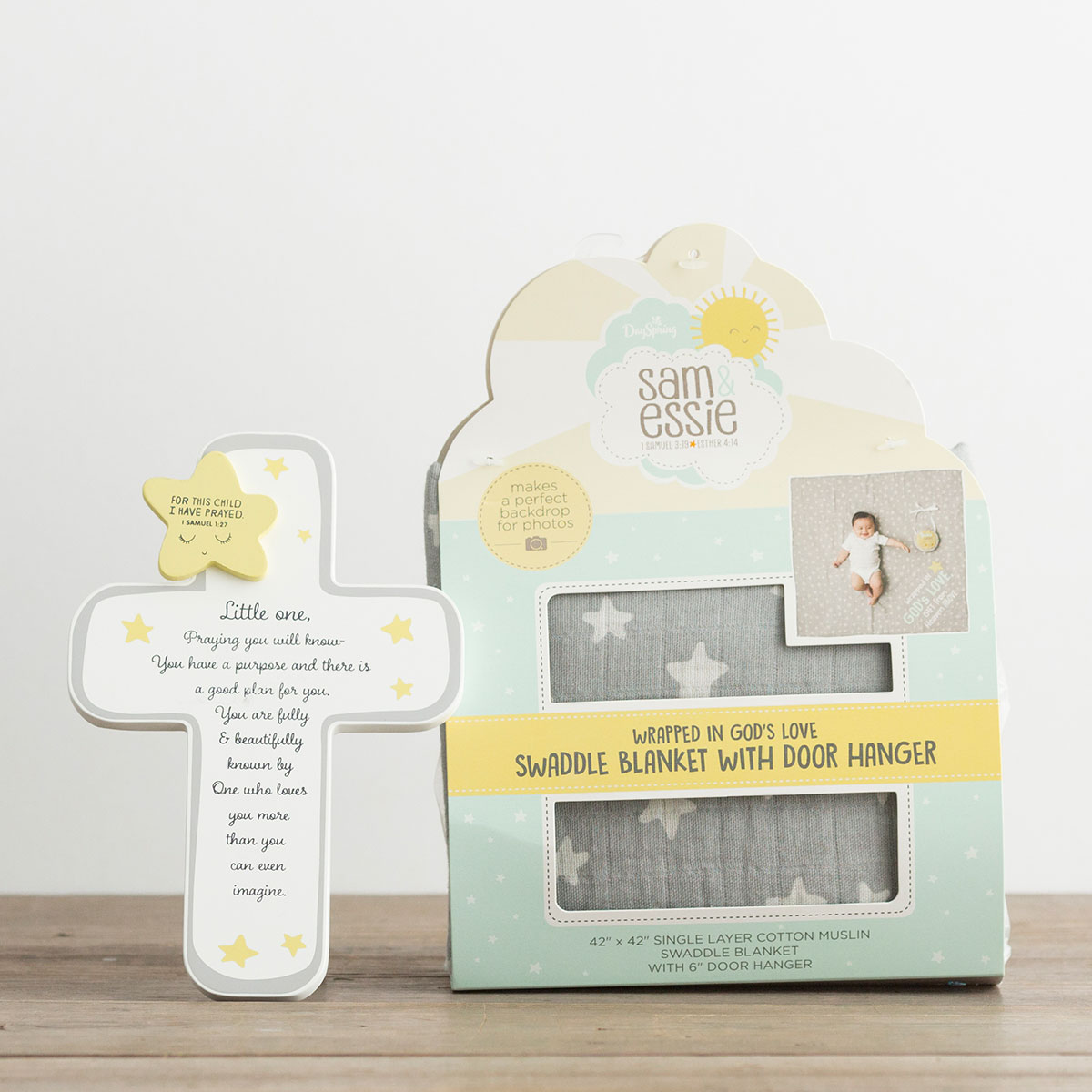 Sam & Essie - Wrapped in God's Love - Swaddle Blanket and Cross Gift Set