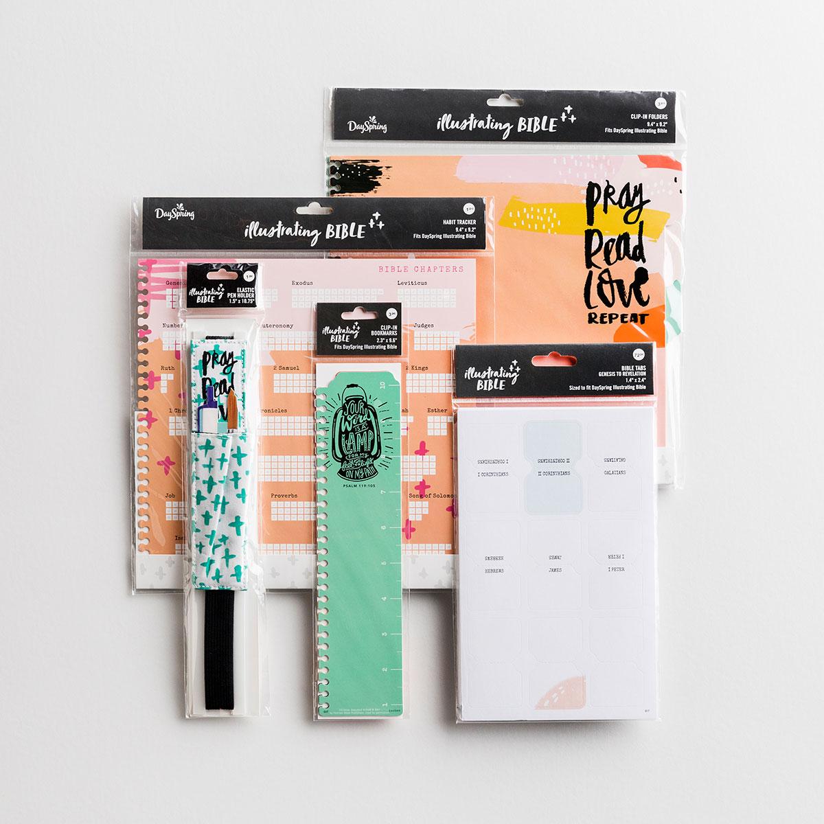 Illustrating Bible - Pray Read Love - Bible Tabs, Pen Holder, and Clip-In Bookmarks, Folders & Habit Tracker Gift Set